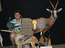 3rd place during the 6 week taxidermy training George made different mounts; Blesbuck half mount, Black backed Jackal full mount, Bronze Blesbuck skull and Redknobbed Coot  full mount.